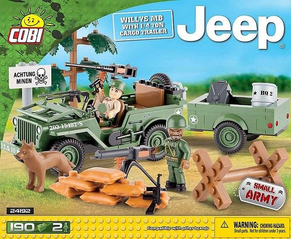 Blocos para Montar Jeep Willys 1/4 + Trailer Cobi