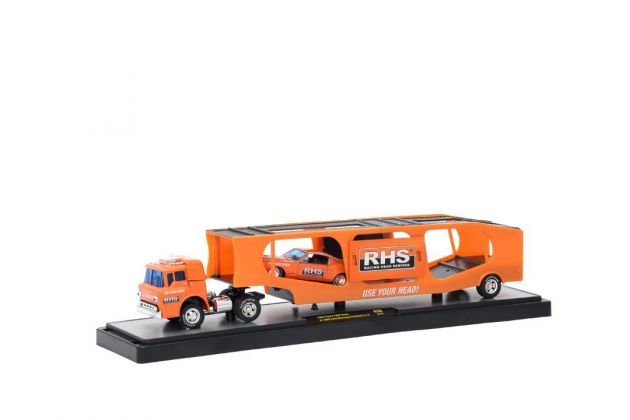 Caminhão Ford C-950 Truck 1964 + Ford Mustang Fastback 2+2 1968 R30 Auto-Haulers M2 Machines 1:64