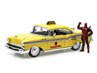 Chevrolet Bel Air 1957 Taxi + Deadpool Diecast Marvel Jada Toys 1:24
