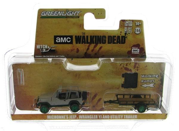 Michonneu0027s Jeep Wrangler YJ The Walking Dead + Trailer Hitch U0026 Tow Séries 8  Greenlight 1:64 (Chase)
