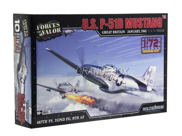 Model Kit Avião U.S. P-51D Mustang (Grã-Bretanha 1945) 1:72 Forces of Valor